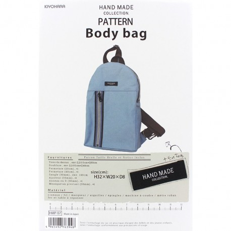 Body Bag 32cm x 20cm x 8cm  sewing pattern, HandMade Collection by Kiyohara - light blue