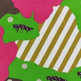 ♥ Coupon 60 cm X 150 cm ♥ Kokka Echino fabric Camouflage - pink