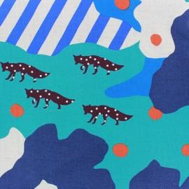 Tissu coton Kokka Echino Camouflage bleu x 60cm