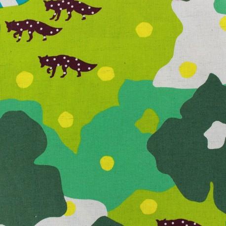 Tissu coton Kokka Echino Camouflage vert x 60cm