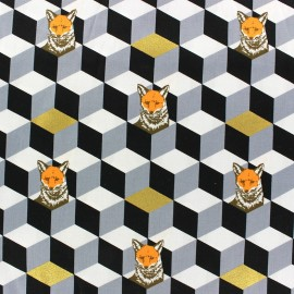 Tissu coton Kokka Echino Graphik Fox noir x 10cm
