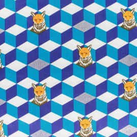 Tissu coton Kokka Echino Graphik Fox bleu x 10cm
