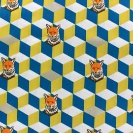 Tissu coton Kokka Echino Graphik Fox moutarde x 10cm