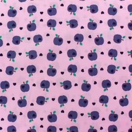 Tissu coton Sweat Apples rose x 10cm