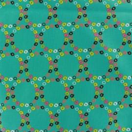 Tissu Colorful circles teal x 10cm