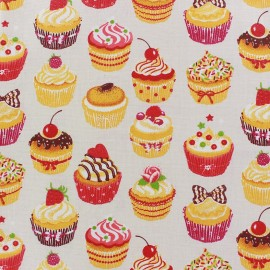 Tissu enduit coton Mini Cupcakes beige x 10cm