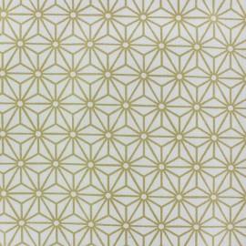 Tissu Oeko-tex coton cretonne Tokyo blanc/or x 10cm