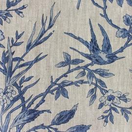Tissu lin Hirondelle bleu x 10cm
