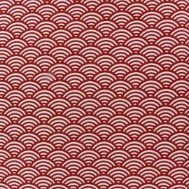 Tissu coton cretonne Sushis rouge x 10cm
