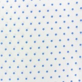 Cretonne Cotton Fabric Mini Stars ivory/bluex 10cm