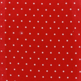 Cretonne Cotton Fabric Mini Stars red/ivory x 10cm