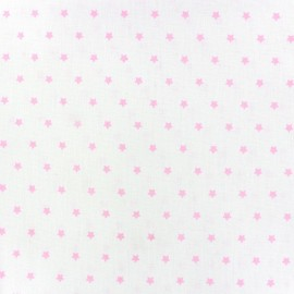 Cretonne Cotton Fabric Mini Stars ivory/pink x 10cm