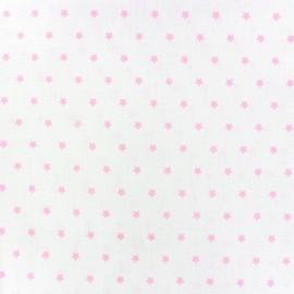 Tissu coton cretonne Mini Stars ivoire/rose x 10cm
