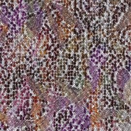 Tissu Paillettes sur tulle Ariel orange x 10cm