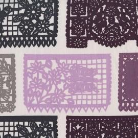 Tissu Puebla - plum x 24cm