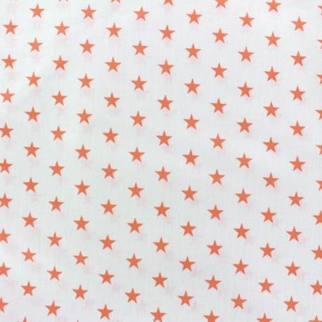 Tissu Etoiles corail/blanc x 10cm