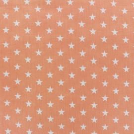 Tissu Etoiles blanc/corail x 10cm