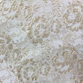 Tissu Damassé Fleurs sauvages doré x 10cm
