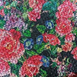 Polished wool fabric  Blossom - black x 10cm