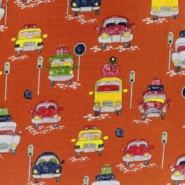 Tissu coton Have a good trip orange x 10cm