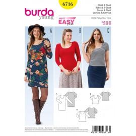 Patron Robe & T-shirt Burda n°6716