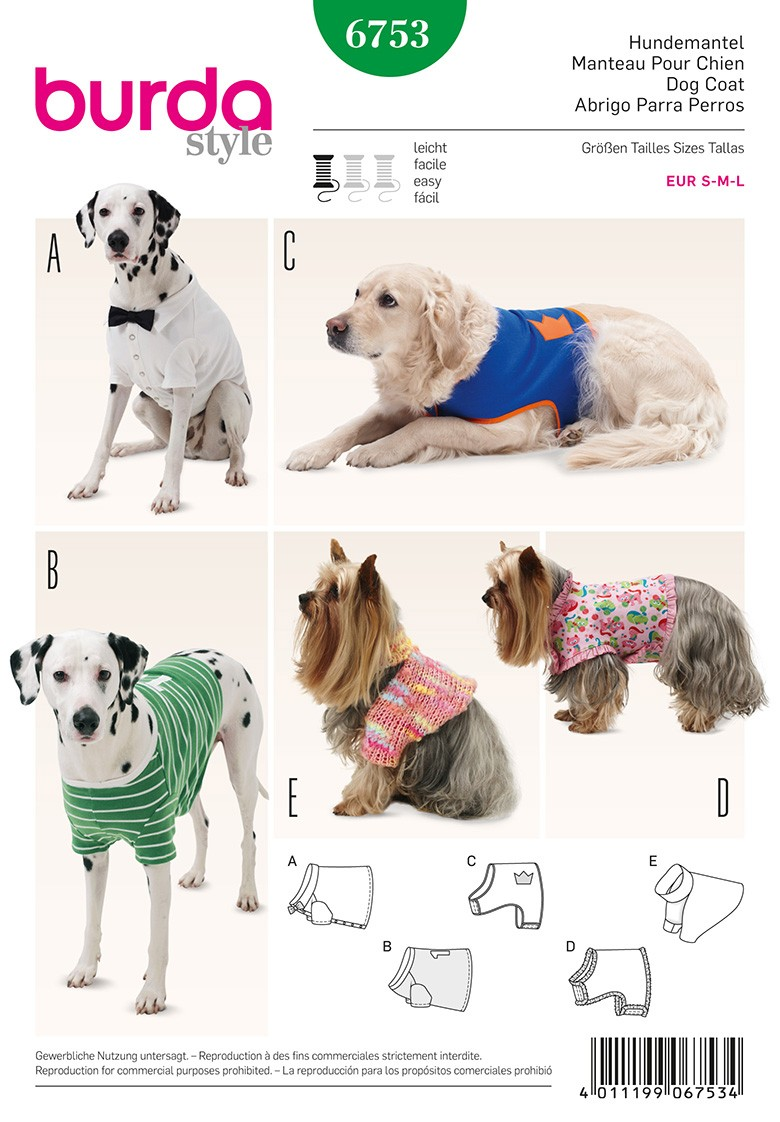 Dog Coat Sewing Pattern Burda N6753 Ma Petite Mercerie