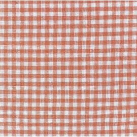 Tissu Vichy petits carreaux pêche x 10cm