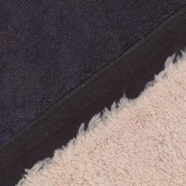 ♥ Coupon tissu 45 cm X 150 cm ♥ Fourrure mouton Tom réversible aspect suédine marine
