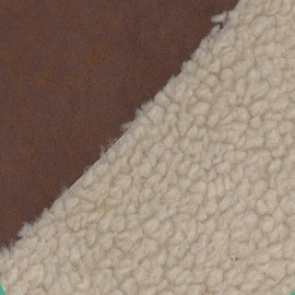 Fourrure mouton réversible aspect cuir vieilli V2 chataîgne x 10cm