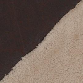 Fourrure mouton réversible aspect cuir vieilli V2 chocolat x 10cm