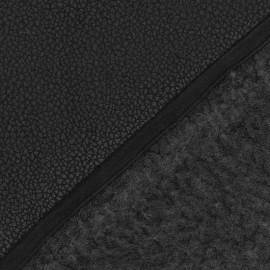 ♥ Coupon tissu 100 cm X 150 cm ♥ Fourrure mouton réversible aspect cuir craquelé noir