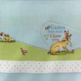 Tissu Guess How Much I love you - C fond bleu ciel x 57,5 cm