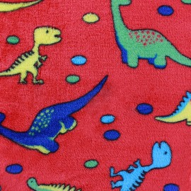 Tissu Doudou Dino rouge x 10cm