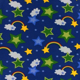 * Coupon 10 cm X 145 cm *  Tissu Jersey Rainbow marine