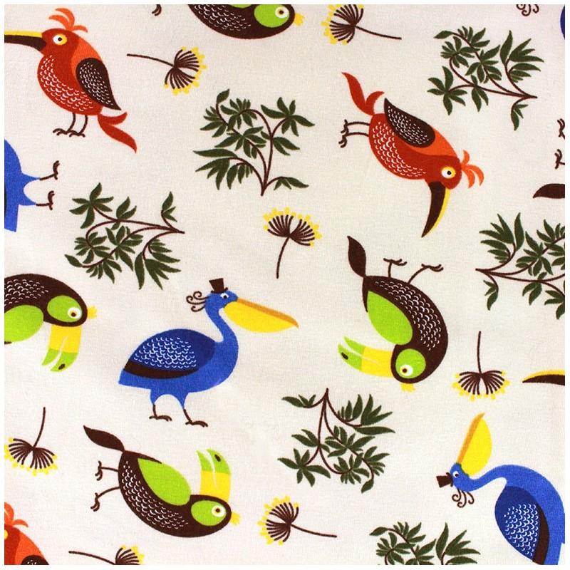 tissu jersey tropical bird x 10cm ma petite mercerie. Black Bedroom Furniture Sets. Home Design Ideas