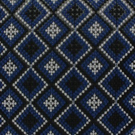 Embroided muslin fabric Losanges - blue x 10cm