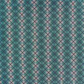 Tissu coton Highland vert loch ness x 10cm
