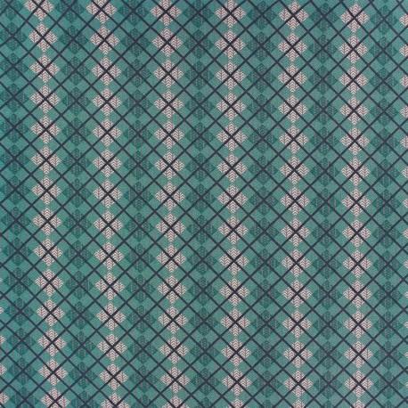 Cotton fabric Highland - green loch ness x 10cm