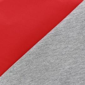 Tissu Néoprène envers jersey de viscose rouge/gris x 10cm