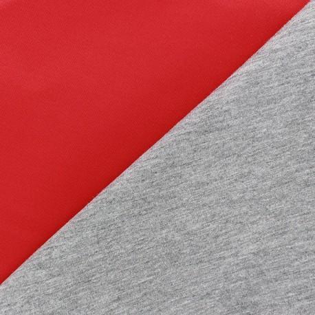 Neoprene /jersey viscose fabric - red/grey 10cm