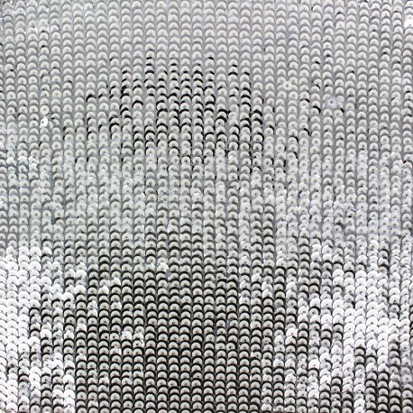 Tissu Paillettes Shiny white and silver x 10cm