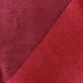 Bicolour thick Suede fabric Alaska - griotte/bordeaux x 10cm