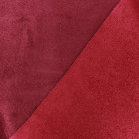 Tissu Suédine épaisse bicolore Alaska Griotte/bordeaux x 10cm
