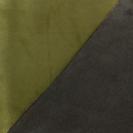 Bicolour thick Suede fabric Alaska - mousse/brun x 10cm