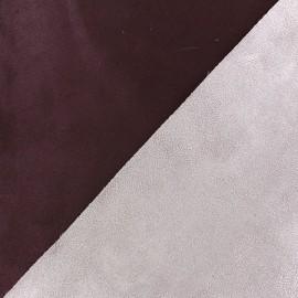 Bicolour thick Suede fabric Alaska - prune/parme x 10cm