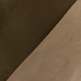 Bicolour thick Suede fabric Alaska - chocolat/daim x 10cm