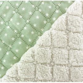Fourrure mouton réversible matelassé Stars vert x 10cm