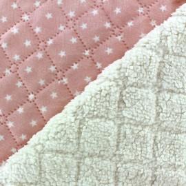 Fourrure mouton réversible matelassé Stars rose x 10cm
