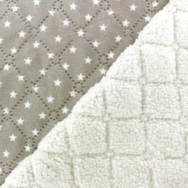 Quilted reversible sheep fur Stars - taupe x 10cm