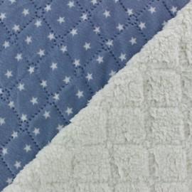 Fourrure mouton réversible matelassé Stars bleu x 10cm